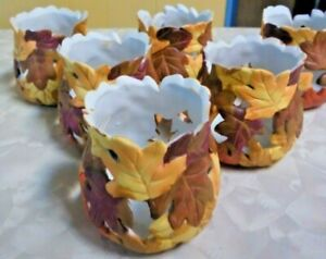 6 Beautiful Fall Leaves Porcelain Tealight Candle Holders