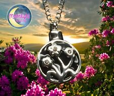 New Flowers Urn Cremation Pendant Ash Holder Silver Memorial Necklace