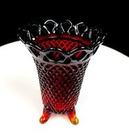 """IMPERIAL GLASS AMBERINA LACE RIM DIAMOND POINT FOOTED 5 1/8"""" VASE"""