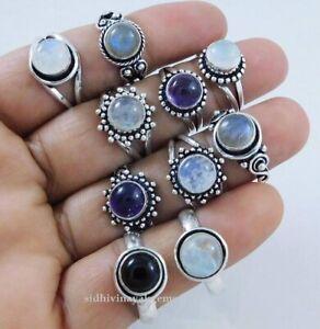 Lot 25 PCs. Natural Amethyst, Moonstone Mix Gemstone 925 Silver Plated Rings C-2
