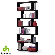 Estanteria alta abierta, libreria moderna 6 estantes, color Negro Brillo, Athena