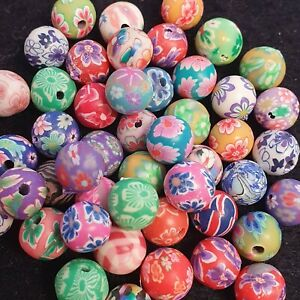Mixed Round Polymer Clay Beads - 8mm - Jewellery Making - Childrens Jewellery