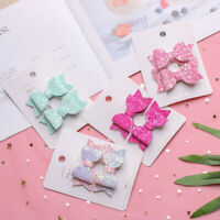 Double Layer  Baby Girls Kids Hair Clips Bows Headwear Sequin Bow Cute Hairpins