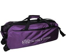 Vise 3 Ball Tote Bowling Bag with tow wheels Color Purple