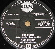 ELVIS PRESLEY KING CREOLE b/w DIXIELAND ROCK RCA 78 RPM E EXCELLENT GRADE