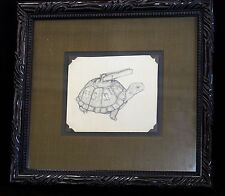 """Original Pencil on Paper Drawing by Michelle Rollman, """"Turtle & Clothespin"""" 1997"""
