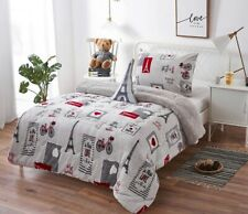 EIFFEL TOWER GRAY UNISEX BLANKET WITH SHERPA VERY SOFTY AND WARM 3PCS TWIN SIZE