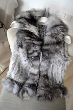 Woman Winter Real Natural Genuine Rabbit Fur Vest Jacket With Fox Fur Collar
