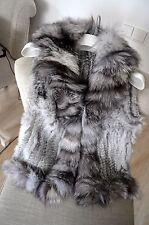 Woman Winter Real Natural Genuine Rabbit Fur Vest Jacket With Fox Fur Collar