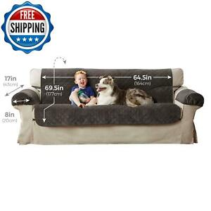 Quilted Sofa Cover Couch Chair Kid Pet Dog Elastic Slipcover Protector 3-Piece