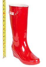 Women Wedge Rubber Rain Boots, Mid-Calf Waterproof Wellies