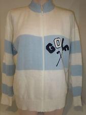 Quantum Sportswear Womens Golf Tee Sweater Golfer Full Zip Sz L Large Blue White