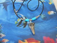 """Sterling Silver Wired 1 1/4"""" Megalodon Era Fossil Mako Shark Tooth Necklace"""