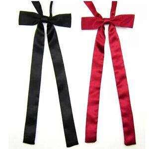 Women's Girls Long Wedding Banquet Solid Color Adjustable Bowtie Bow Tie Necktie