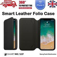 Ultra Slim Leather Folio Smart Sleep & Wake Wallet Case for Apple iPhone X 10