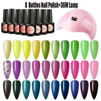 8 colors Gel Nail Polish Starter Kit With UV LED Lamp Dryer Nail Manicure Set