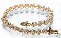 """Rose Gold Over Solid 925 Sterling Silver Bezel Set CZ Tennis Bracelet 7-1/2"""" L ."""