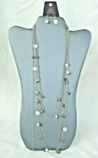 Paparazzi multi-chain 4 in 1 necklace with dangle drop earrings silver tone