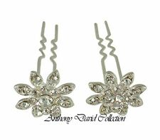 CLEARANCE SALE - Silver Metal Crystal Bridal Hair Stick Up-Do Pins