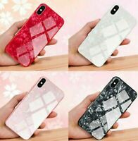 For Apple Phone 7 8 XR X XS MAX Case 10D Tempered Glass Shockproof Marble Cover