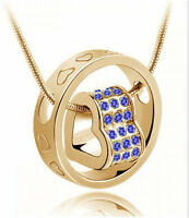 Fashion Women Heart Crystal Blue Charm Pendant Gold Chain Necklace Jewelry DIY