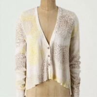 Sparrow Anthropologie Hortensia Cardigan Floral Sweater Linen Blend Sz L