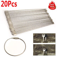 20PCS 150mm Stainless Steel Wire Keychain Cable Key Ring for Outdoor Hiking Tool