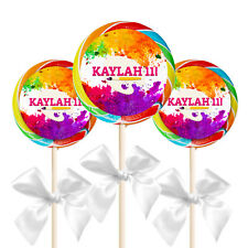 "12 Art Painting Paint Birthday Party Favors Personalized 2.5"" Lollipop Stickers"