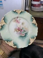 Stunning Unsigned R S Prussia Fleur De Lis Mold Floral Green Cake Plate!!