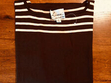 New Linea by Louis Dell'Olio Brown Horizontal Stripe Sweater Knit Top Sz M