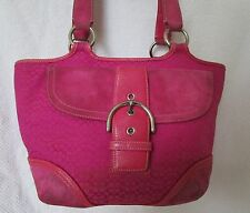Preloved Coach Signature C Pink Suede and Leather Tote Bag Purse..soiled beauty