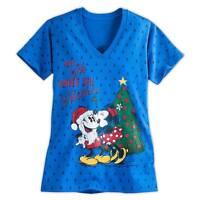 Disney Store Christmas Santa Mickey & Minnie Mouse Holiday Womens T Shirt Sz S