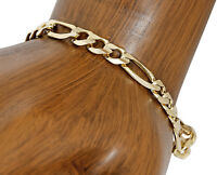Men's 6.0 mm SOLID Yellow Gold Figaro Link Bracelet 8.5 in Long