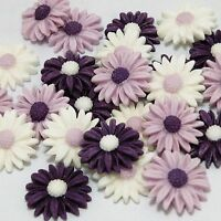 24 EDIBLE ICING SUGAR DAISY FLOWERS CUPCAKE TOPPER, CAKE DECORATION. PURPLE MIX