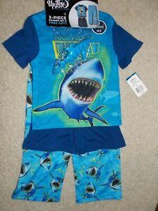Stay Up Late Boy's 3-pc Pajama Set w/toy Shark Size 4