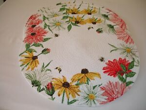 New! S/4 Braided Cotton Flowers Floral Bees Kitchen Placemats Dining Placemats