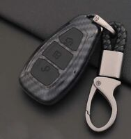 Carbon Fibre BLACK Ford Car Key Case Cover Shell Ford Fiesta Focus Mondeo Galaxy