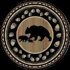 Round Area Rug Lodge Cabin Bear Paw Tracks Cubs Black Southwestern Beige Rustic