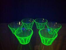 """Rare Set of 6 Uranium Vasaline Green Glass Berry Dessert Cups 2"""" High Antique"""