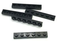 Lego Lot of 5 New Black Plates 1 x 6 Dot Building Blocks Pieces