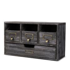 Wood Desktop Office Organizer Drawers Set Storage Cabinet Rusti Torched Finish