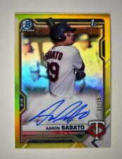 2021 Bowman Chrome Prospects Auto Yellow Refractor Aaron Sabato 1/75 - Twins