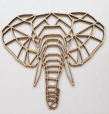 Laser Cut MDF Wood Plain Geometric Elephant Craft, Zoo Animals Rustic
