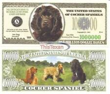 Two Cocker Spaniel Dog Novelty Currency Bills # 324