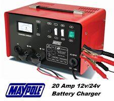 Maypole Heavy Duty Steel 20 Amp 12v/24v Car Van Tractor Battery Charger #MP730
