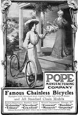 Pope Chainless Bicycles BIKE Art Nouveau GIRL VISITING GRANDMA 1904 Print Ad