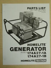 HOMELITE GENERATOR PARTS LIST MANUAL 174A27-1A / 1B NO. 17138 - A