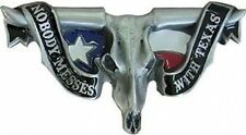 Nobody Messes with Texas Longhorn Skull Belt Buckle