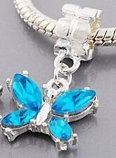 BLUE  BUTTERFLY DANGLE CHARM S/P  EUROPEAN BEAD