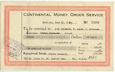 1935 Canada Continental Money Order document $10 US to Poland resident